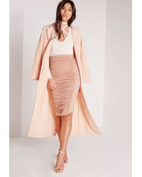 Missguided - Pink Ruched Detail Midi Skirt Nude - Lyst