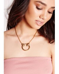 Missguided - Metallic Circle Statement Necklace Gold - Lyst