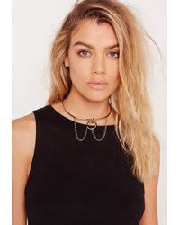 Missguided - Metallic Metal Chain Drop Choker Silver - Lyst