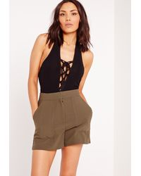 Missguided - Gray Halter Neck Ribbed Lace Up Bodysuit Black - Lyst