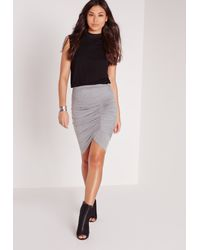 Missguided - Gray Ruched Front Jersey Midi Skirt Grey - Lyst