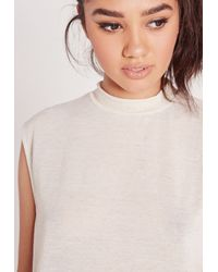 Missguided - Turtle Neck Scoop Armhole White - Lyst