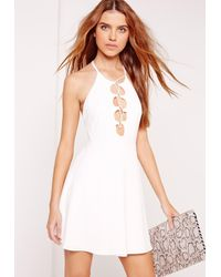 Missguided - Lace Up Halter Neck Skater Dress White - Lyst