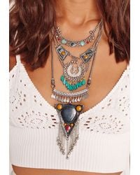 Missguided | Metallic Multi Stone Layered Necklace Silver | Lyst
