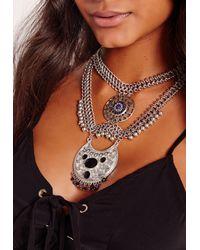 Missguided - Brown Statement Cobalt Blue Stone Necklace - Lyst