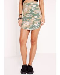 Missguided - Natural Camo Print Curve Hem Mini Skirt - Lyst