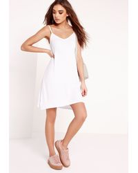 483955e1f4b39 Missguided Strappy Jersey Swing Dress White in White - Lyst