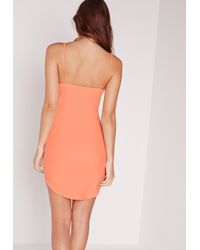 Missguided - Strappy Plunge Bodycon Dress Orange - Lyst