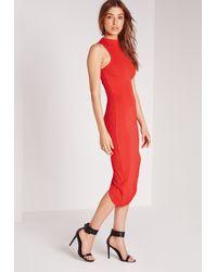Missguided - High Neck Bandage Asymmetric Hem Dress Red - Lyst