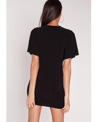 Missguided - Gray Slinky V Plunge Angel Sleeve Dress Black - Lyst