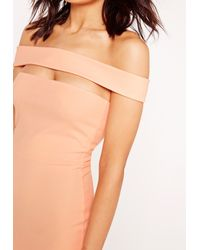 Missguided - Pink Cut Out Panel Bardot Bodycon Dress Nude - Lyst