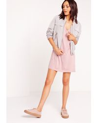 Missguided - Pink Wide V-neck T- Shirt Dress Mauve - Lyst