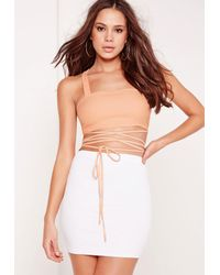 Missguided - Multicolor Tie Wrap Bralet Peach - Lyst