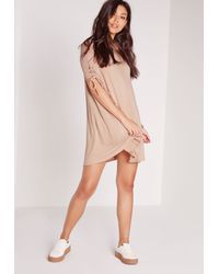 Missguided - Pink Tie Short Sleeve Swing Dress Nude - Lyst