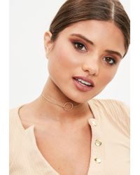 Missguided - Metallic Gold Look Simple Choker - Lyst
