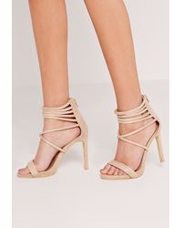 Missguided - Multicolor Strappy Cuff Heeled Sandals Nude - Lyst