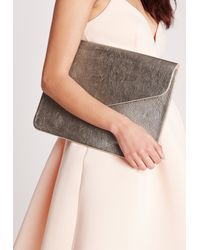 Missguided - Gray Oversized Metallic Envelope Clutch Bag Silver  - Lyst