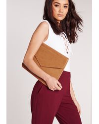 Missguided - Brown Oversized Envelop Clutch Bag Tan - Lyst