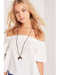Missguided | Metallic Moon Pendant Necklace Gold | Lyst