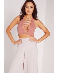 Missguided - Ladder Front Bralet Pink - Lyst