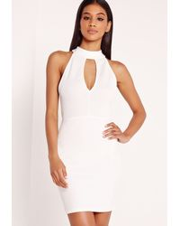 Missguided | Choker Airtex Bodycon Dress White | Lyst