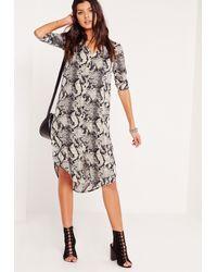 Missguided | Multicolor Snake Print Longline Shirt Dress Multi | Lyst