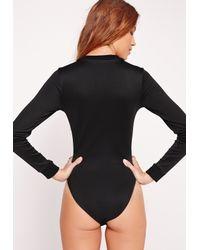 Missguided - Zip Up Bomber Bodysuit Black - Lyst
