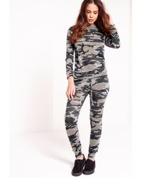Missguided - Gray Camo Print Tracksuit - Lyst