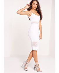 2af0655d05 Lyst - Missguided Strappy Mesh Bodycon Dress White in White