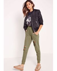 Missguided - Multicolor Ripped Front Joggers Khaki - Lyst