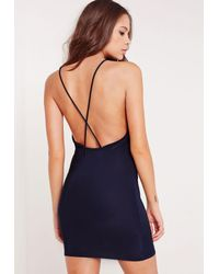 Missguided - Blue Slinky Strappy Plunge Bodycon Dress Navy - Lyst