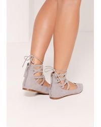 Missguided - Gray Ghille Lace Up Pointed Flat Shoes Grey - Lyst