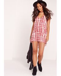 Missguided - Black Tie Dye Drop Hem Shift Dipped Hem Dress Pink - Lyst