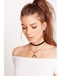 Missguided - Crescent Moon Layered Choker Necklace Black - Lyst