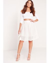b8eb509bc7f6 Lyst - Missguided Mesh Full Skater Skirt White in White