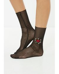 Missguided - Black Floral Pearl Mesh Socks - Lyst