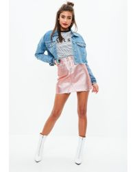 Missguided - Pink Rose Gold Metallic Raw Hem Mini Skirt - Lyst