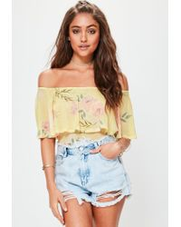 Lyst - Missguided Yellow Floral Print Mesh Bardot Bodysuit in Yellow 15558e5a4