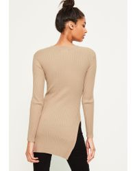 Missguided - Natural Camel V Neck Ribbed Knitted Tunic Top - Lyst