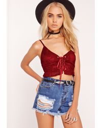 Missguided - Lace Up Bralet Red - Lyst