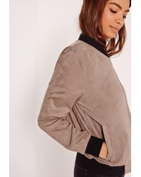 Missguided - Contrast Rib Faux Suede Bomber Jacket Brown - Lyst