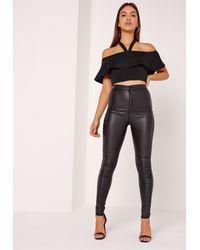 Missguided - Halterneck Bardot Crop Top Black - Lyst