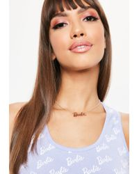 Missguided - Multicolor Barbie X Rose Gold Logo Chain Necklace - Lyst