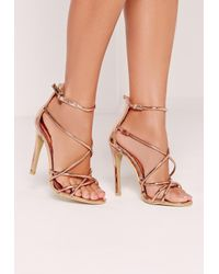 a2b80e900e12 Lyst - Missguided Strappy Barely There Heeled Sandals Rose Gold in Blue