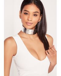 Missguided - Metallic Metal Plate Choker Necklace Silver - Lyst