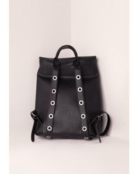 Missguided - Minimal Eyelet Detail Backpack Black - Lyst