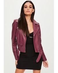 Missguided - Multicolor Burgundy Biker Jacket - Lyst