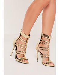 6f43287de13 Lyst - Missguided T Bar Strappy Gladiator Heels Gold in Metallic