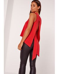 Missguided - Tie Back Plunge Tank Top Red - Lyst
