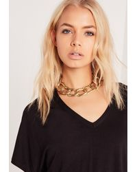 Missguided - Gray Chunky Chain Choker Necklace Gold - Lyst
